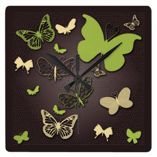 Butterflies in Warm Earth Tones Wall Clock