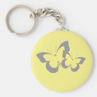 Butterflies in Yellow and Grey Keychain