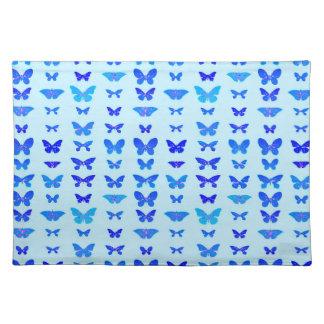 Butterflies, indigo, sky blue background placemats