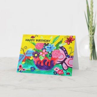 Butterflies & Ladybugs Birthday Card card