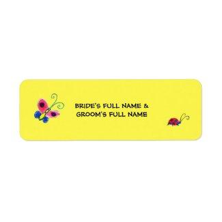 Butterflies & Ladybugs Bride-Groom Name Label 2