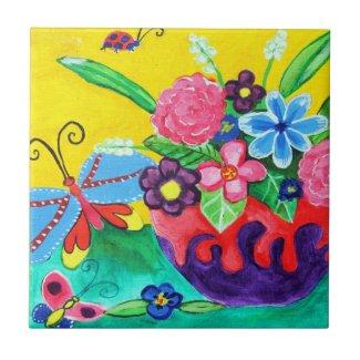 Butterflies & Ladybugs Ceramic Tile tile