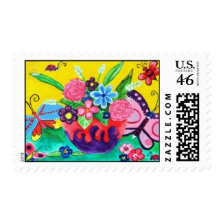 Butterflies & Ladybugs Postage Stamp stamp