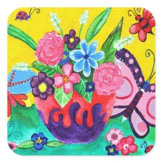 Butterflies & Ladybugs Square Sticker sticker
