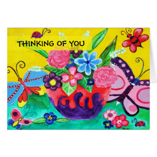 Butterflies & Ladybugs Thinking Of You Greeting Card