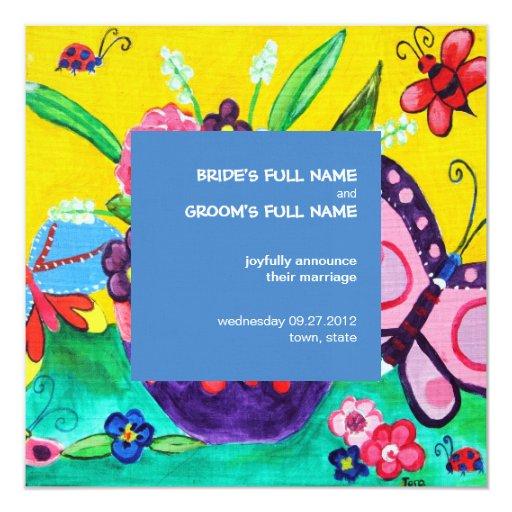 Butterflies & Ladybugs Wedding Announcement 2
