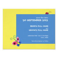 Butterflies &amp; Ladybugs Wedding Save the Date 4.25x5.5 Paper Invitation Card (<em>$2.75</em>)