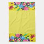 Butterflies & Ladybugs yellow Tea Towel