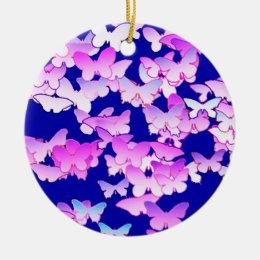 Butterflies, lavender and dark blue ceramic ornament