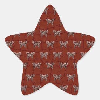 Butterflies leather background star sticker