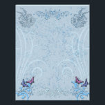 "Butterflies Letterhead<br><div class=""desc"">A delicate blue hue and subtle flower detail enhanced with butterfiles for your letter writing and scrapbooking.</div>"