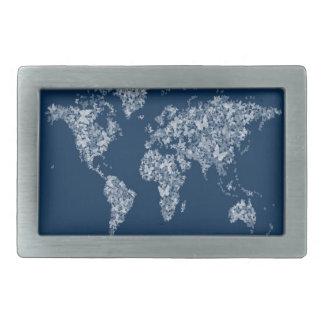 Butterflies Map of the World Map Belt Buckle