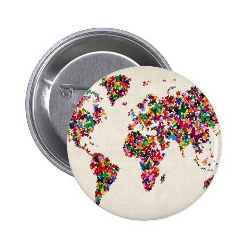 Butterflies Map of the World Map Buttons