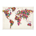 Butterflies Map of the World Map Stretched Canvas Prints