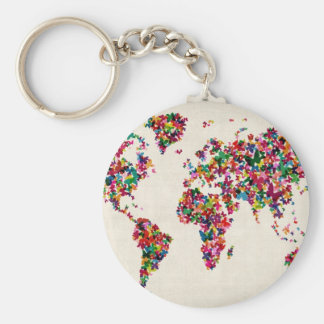 Butterflies Map of the World Map Keychain