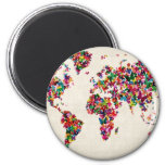Butterflies Map of the World Map 2 Inch Round Magnet