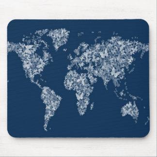Butterflies Map of the World Map Mousemat