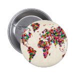 Butterflies Map of the World Map Pinback Button