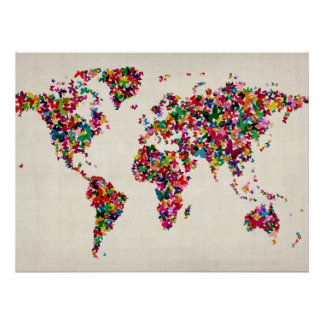 Butterflies Map of the World Map Poster
