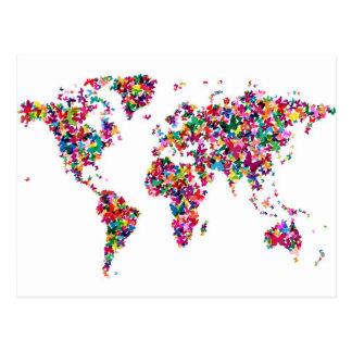 Butterflies Map of the World Postcard
