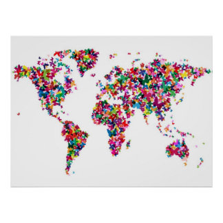 Butterflies Map of the World Poster