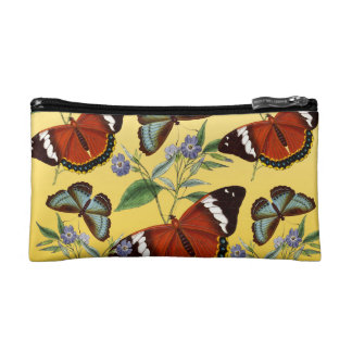 butterflies mix yellow cosmetic bag
