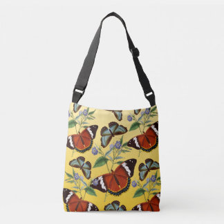 butterflies mix yellow crossbody bag