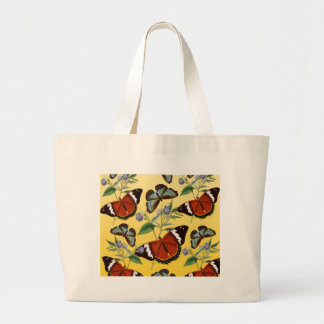 butterflies mix yellow large tote bag