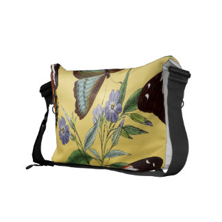 butterflies mix yellow messenger bag