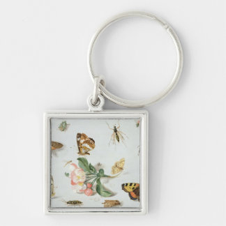 Butterflies, moths and other insects Silver-Colored square keychain