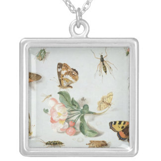 Butterflies, moths and other insects square pendant necklace