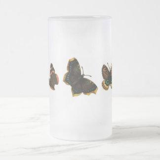 Butterflies 16 Oz Frosted Glass Beer Mug