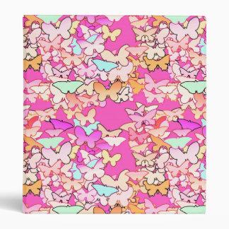 Butterflies, multi and deep pink 3 ring binder