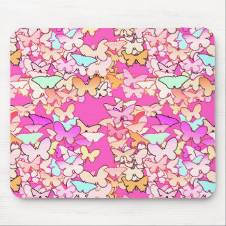 Butterflies, multi and deep pink mouse pad