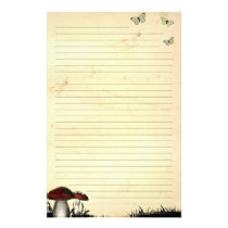 Butterflies & Mushroom Lined Old Paper Stationery
