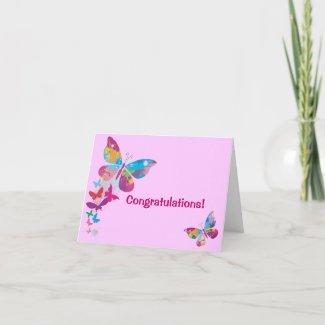 Butterflies New Baby Girl Card