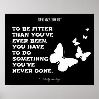 Butterflies of Fitness Motivation: Black White 005 Poster