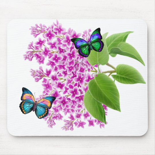 Butterflies on a Lilac Bush Mouse Pad