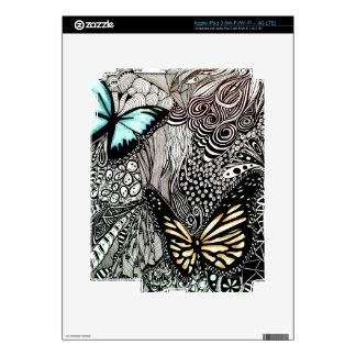 Butterflies on Black and White Design iPad 3 Skins