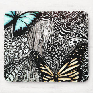 Butterflies on Black and White Design Mouse Pad
