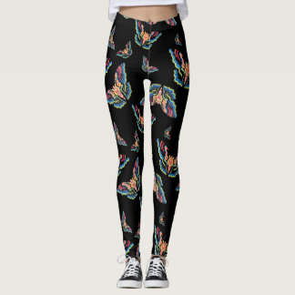 Butterflies on black leggings butterfly print