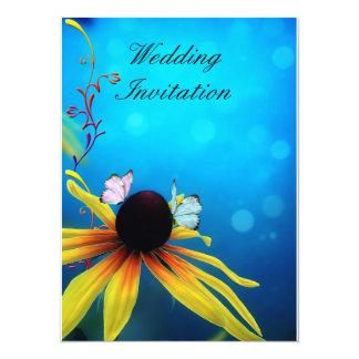 Butterflies on Daisy Wedding Invitation