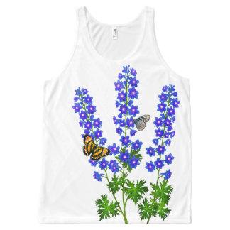 Butterflies on Delphinium Flowers Tank Top All-Over Print Tank Top