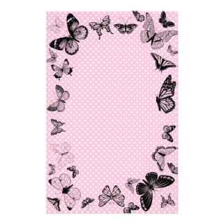 Butterflies on dotted pink background stationery