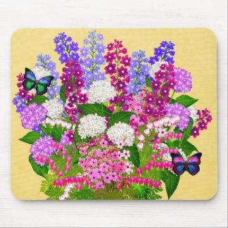 Butterflies on English Garden Bouquet Mousepad