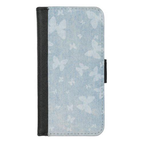 Butterflies on faded denim look iPhone 8/7 wallet case