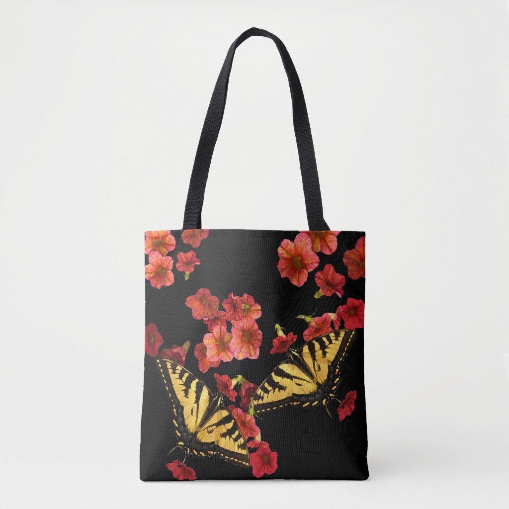 Butterflies on Garden Flowers Floral Tote Bag