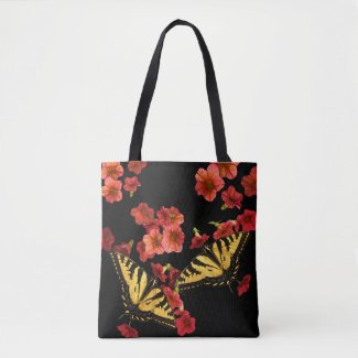 Butterflies on Garden Flowers Floral Tote Bag