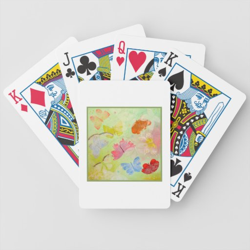 Butterflies on Light Green. Bicycle Playing Cards