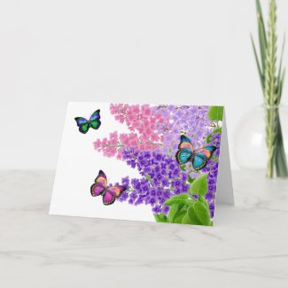 Butterflies on Lilacs Greeting Card